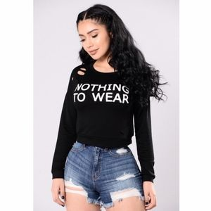 Fashion Nova nothing to wear cropped long sleeve M